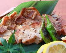 Seared pork shoulder loin steak