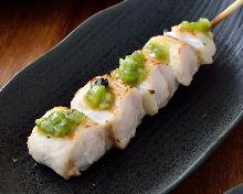 Chicken tenderloin skewer with wasabi
