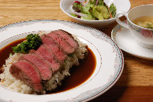 Steak pilaf with soup and salad