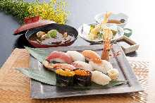 Assorted of high-quality sushi (nine pieces) with tempura and red miso soup