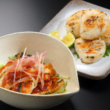Salted and grilled scallops