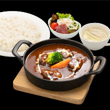 Beef tongue stew meal