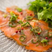 Carpaccio prepared with fresh fish of the day