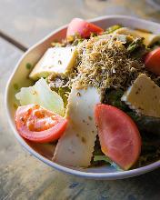 Tofu and baby sardine salad