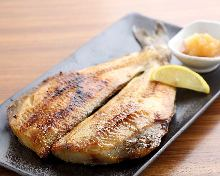 Charcoal grilled opened atka mackerel