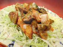 Stir-fried shrimp and potato with mayonnaise