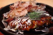 Sticky rice and cheese okonomiyaki