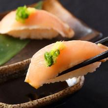 Assorted locally raised chicken nigiri sushi