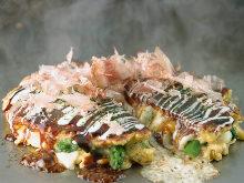Sticky rice and cheese okonomiyaki