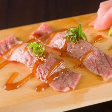 Seared wagyu beef loin sushi