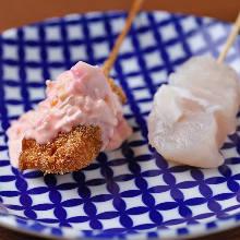 Fried sea foods skewers
