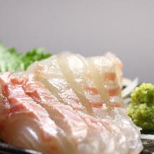 Thinly sliced sea bream sashimi