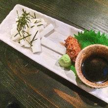 Japanese yam cut into strips