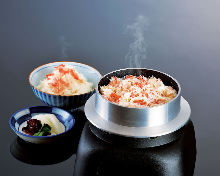 Crab kamameshi (pot rice)