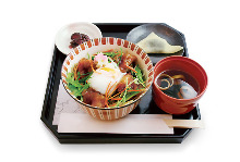 Oyako chicken and egg rice bowl meal set