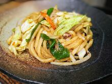 Stir-fried udon noodles seasoned with soy sauce