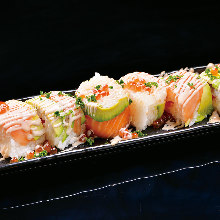 Seared salmon and avocado sushi roll