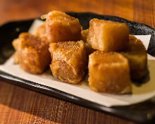 Fried winter root vegetables
