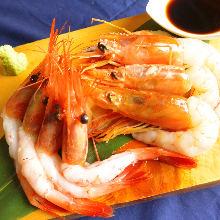 Assorted shrimp sashimi dishes