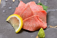 Fresh raw beef tongue sasahimi