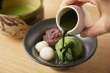 Shiratama Anmitsu with matcha ice cream