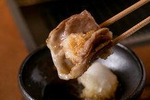 Grilled beef sirloin shabu-shabu