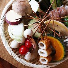 Skewered burdock tempura