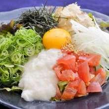 Okra, nameko mushroom and Chinese yam salad