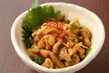 Locally raised chicken skin with ponzu