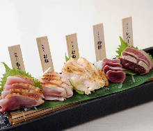 Assorted chicken sashimi