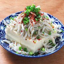 Chilled tofu and whitebait