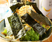 Deep-fried tofu salad with boiled and dried baby sardines