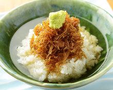 Shirasu chazuke (whitebait and rice with tea)