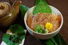 Marinade red sea bream rice bowl