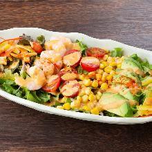 Shrimp and avocado cobb salad