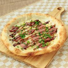 Teriyaki duck pizza