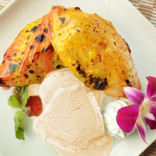 Sweet potato with vanilla ice cream