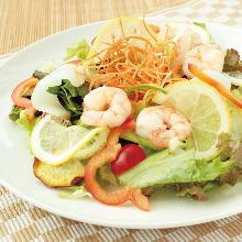 Seafood and lemon salad with fruit vinegar dressing