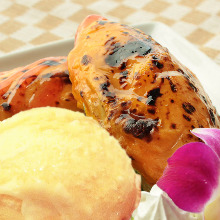 Sweet potato with vanilla ice cream