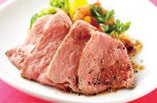Low-temperature cooking roast beef