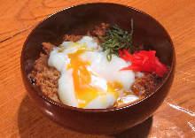 Sautéed ground chicken rice bowl
