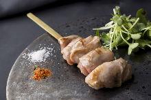 Grilled chicken fillet skewer