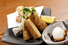Marinated deep-fried Japanese yam with pickled plum and grated daikon radish