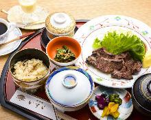 Grid-grilled meal set