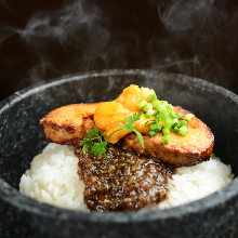 Stone grilled bibimbap with foie gras and sea urchin