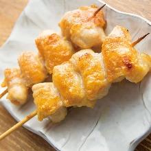 Grilled fatty chicken skewer