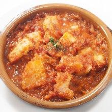 Simmered billfish, tomato, and potato