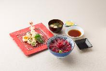 Tuna rice bowl and tempura set
