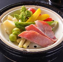 Steamed seasonal fish