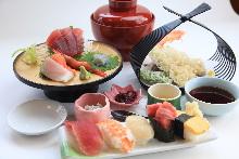 Sashimi, sushi, and tempura set meal